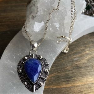 UNTREATED HUGE SAPPHIRE STERLING SILVER NECKLACE